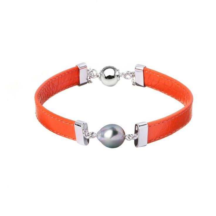Bracelet en cuir orange et perle de Tahiti 8-8,9 mm