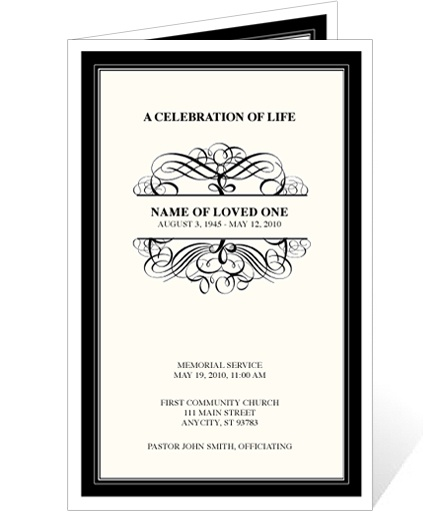 Elegant Monogram Style Memorial Service Programs: Signature Monogram Template