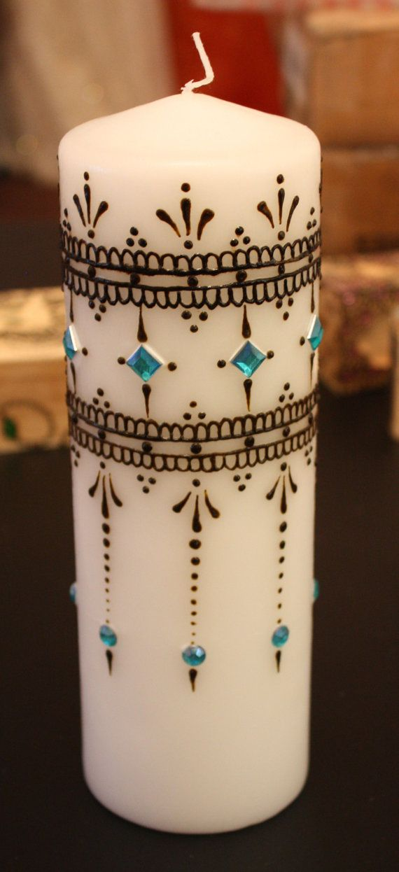 ~henna candle~ indian henna diamonte simple detailed decoration candle light pretty