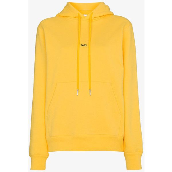 Helmut Lang Taxi Logo Hoodie ($255) ❤ liked on Polyvore featuring tops, hoodies, logo hoodie, helmut lang hoodie, yellow long sleeve top, yellow hoodies and hoodie top