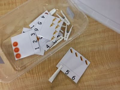 For this box, the student counts the items and then puts the clothespin on that number. I think this set came from a health unit created by Kara at Sped-ventures!