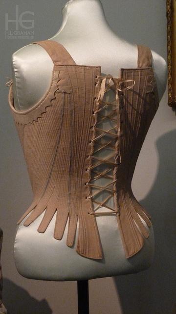 Pink linen stays, Britain, ca. 1780-89.