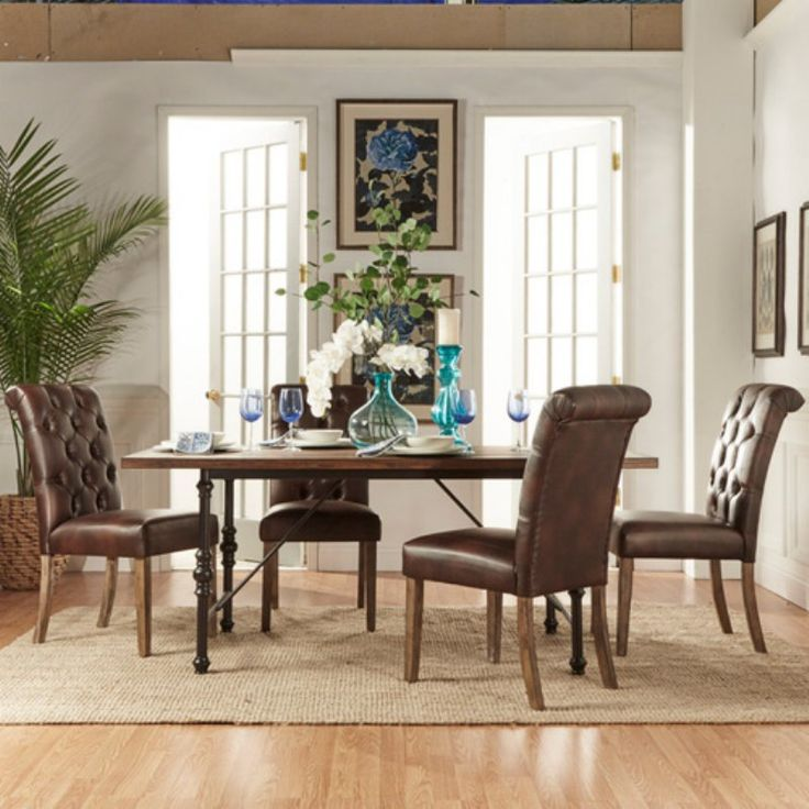 Homelegance 5 Piece Industrial Dining Set With Brown Tufted Chairs    5099 72(MTL