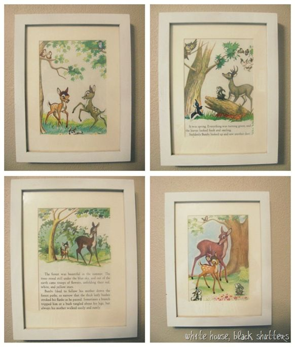 Oh Erica! I really love this idea ... Pages from Little Golden Books framed and used as art! Very classic!!!
