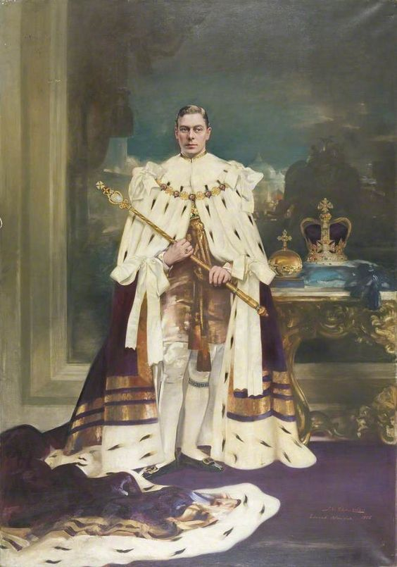 HM King George VI of the United Kingdom of Great Britain and Northern Ireland, Emperor of India, in his coronation robes.  God Save the King Emperor:
