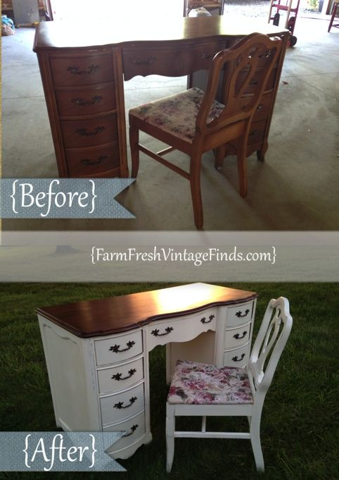 French Provincial Desk in Old White - Farm Fresh Vintage Finds