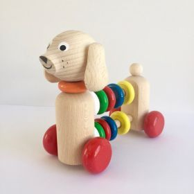Wooden Push Along Abacus Dog #woodentoy #woodenabacusdog #pushalongtoy #abacusdog #woodendecor #kidsroom #oliverthomas