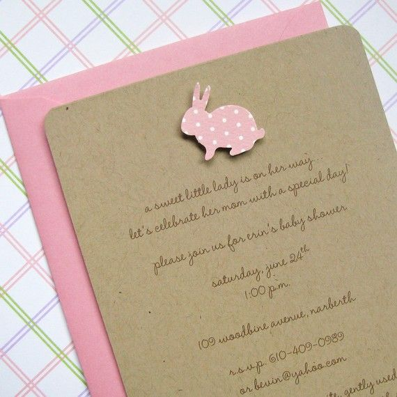 Baby Girl Bunny Kraft Baby Shower Invites