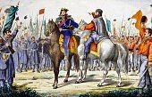 The meeting in Teano between Victor Emmanuel II and Giuseppe Garibaldi, October 26, 1860, watercolour print. Italy, 19th century. (http://www.gettyimages.com/detail/illustration/the-meeting-in-teano-between-victor-emmanuel-ii-and-stock-graphic/549584027)