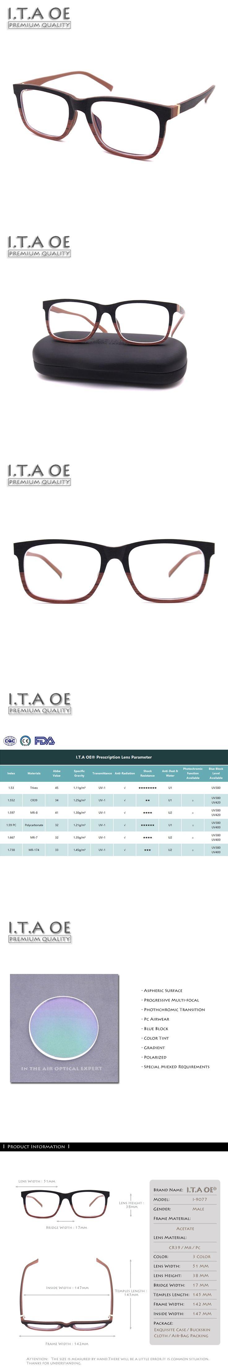 ITAOE Model Laker Quality Wood-like Acetate Men Optical Prescription Glasses Eyewear Frames Spectacles 142mm