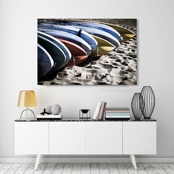 Interior design idea with a large fine art beach photography in canvas artwith blue grey and yellow surfboard, perfect to decorate a bathroom or bedroom wall, made in France.  TITLE: large surfboard , photo 6056 SIZES : 12x16, 16x20, 16x24, 24x36, 30x48, 36x48, 40x60, 45x60 or 36x72 inches QUALITY : high resolution 18 millions pixels CAMERA : professionnal and lens CANON EOS 1DX CANVAS : Premium Fine Art Matte Canvas 410g/m2, 0.75 or 1.5 Thick wood IMPRESSION : Professionnal laboratory  ...
