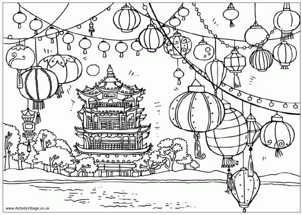 festival of the lanterns - chinese new year - colouring page