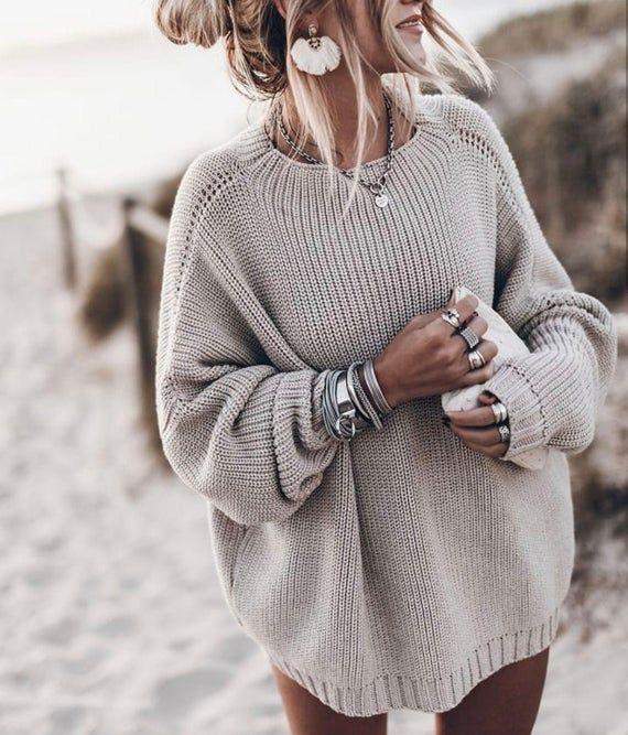 Chunky Merino Wool Sweater Oversized Women Jumper Loose Knit Jumper Minimalist Clothing Basic Scandinavian Knitwear Boho Sweater Cozy Loose Fit Knit Sweater Sweaters Women Fashion Sweater Fashion