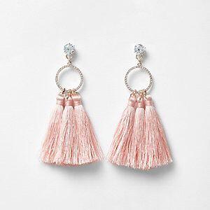 Embellished Hooped Tassel Drop Earrings from River Island R200,00