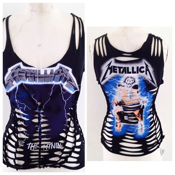 Metallica concert Heavy metal rock t-shirt tank Metallica front and back weave cut top. One of a kind, custom made. Designer direct 75% off retail prices Tops Tank Tops