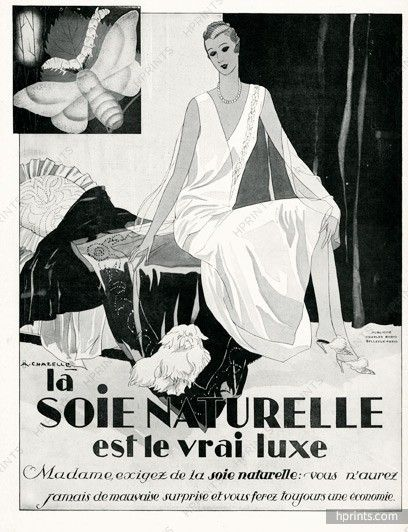 Soie naturelle 1929 chazelle pekinois pekingese dog l illustrated by albert chazelle fabric vintage french original advert