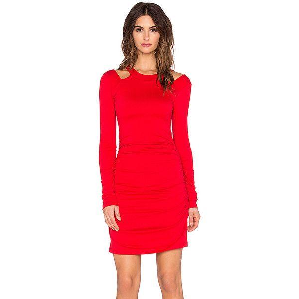 "Susana Monaco Ivy 16"" Dress Dresses (270 SGD) ❤ liked on Polyvore featuring dresses, red cutout dress, cut out dress, side ruched dress, susana monaco dress and nylon dress"