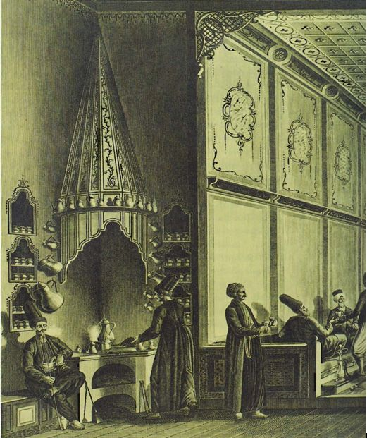 Coffeehouse at Tophane, engraving, Voyage Pittoresque, Paris, 1819