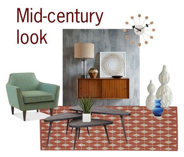 """Mid-century look"" by tarekzg on Polyvore featuring interior, interiors, interior design, hogar, home decor, interior decorating, Crate and Barrel, West Elm, Flamant y Vitra"