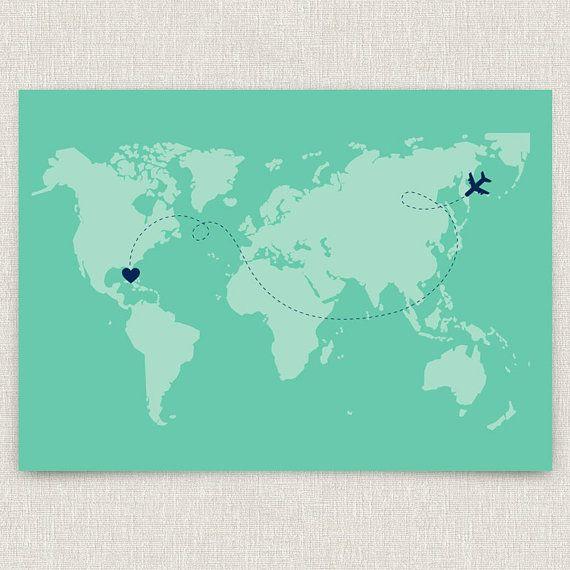 International - Modern destination wedding invitation with world map design