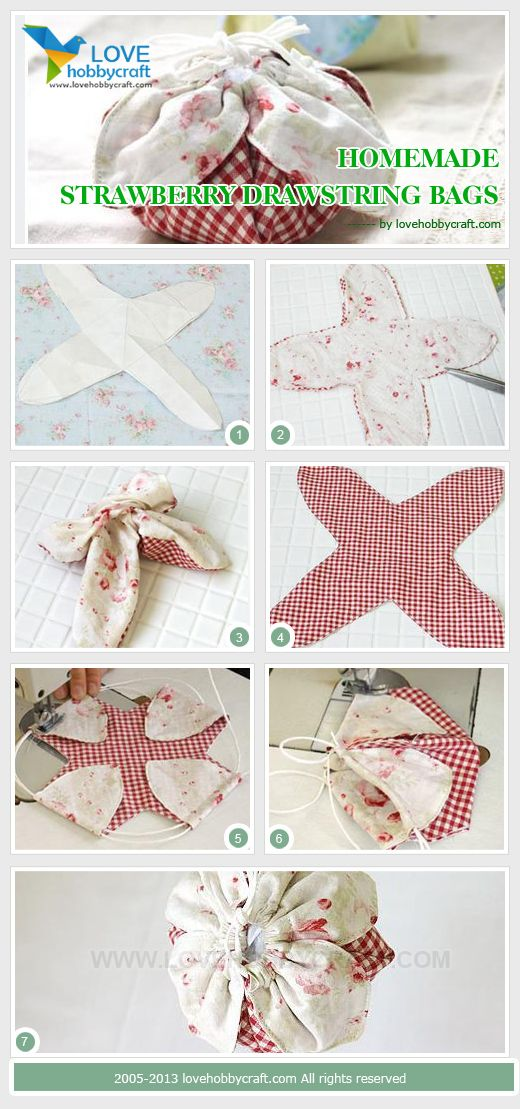 Homemade strawberry drawstring bags