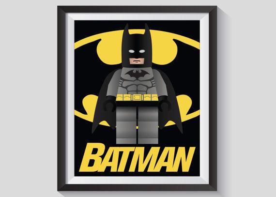 Lego Batman Wall Art, Lego Batman Poster, Lego Batman Picture, Bedroom Art, Superhero Picture, Super Hero Poster, Lego Batman Print