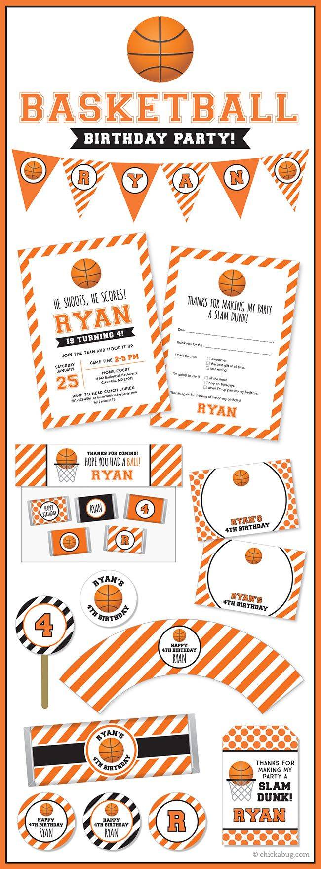 Basketball birthday party! Paper goods & printables from Chickabug. #basketballparty