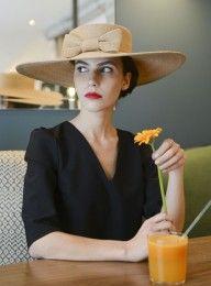 Grande capeline en paille cousue Mademoiselle Chapeaux