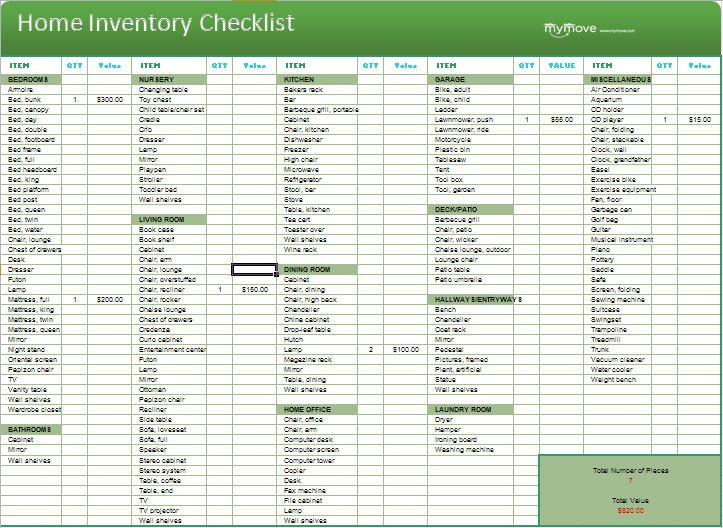 92 best Home Inventory etc images on Pinterest Financial peace - household inventory list template
