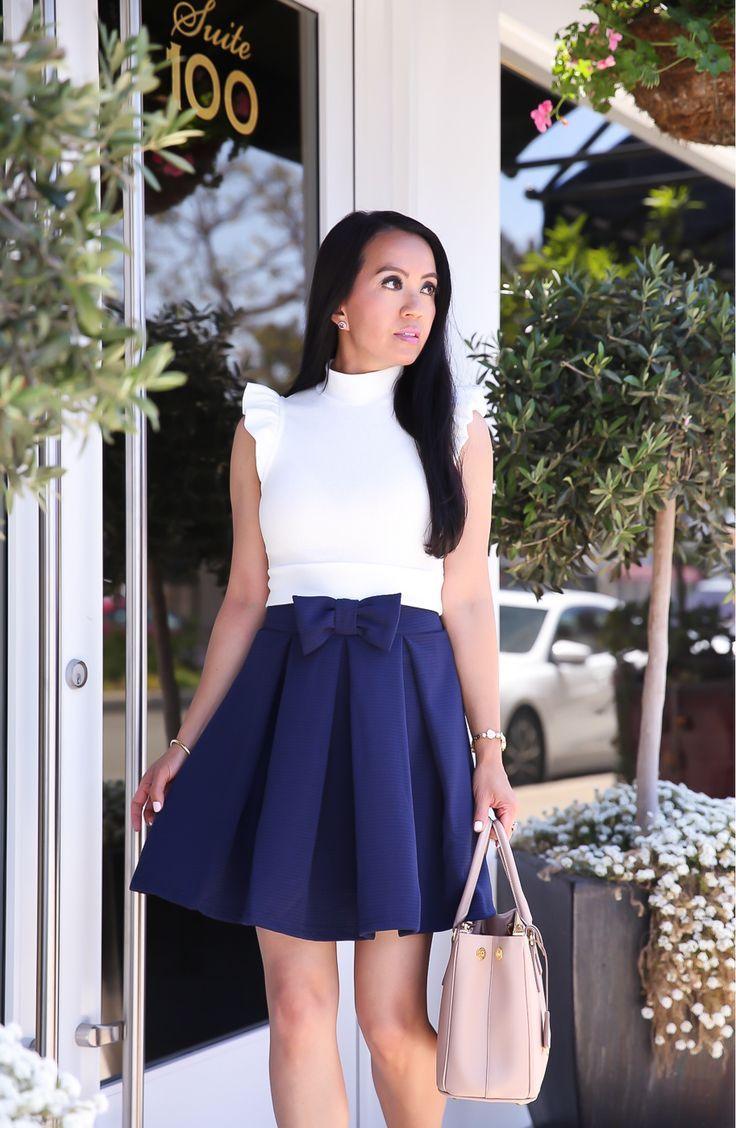 aae06763e4 Spring/Summer outfit idea - navy bow skirt, ruffle sleeve crop top