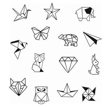 Satz von 14 Origami-Holzstempeln und einem Stempel…