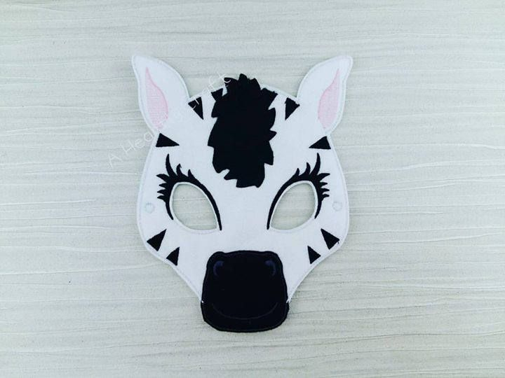 Zebra Mask - Felt Zebra Mask - Animal Mask - Zebra Costume Mask - Face Mask - Zebra Party Favor - Zoo Mask - African Mask - Gifts for All by AHeartlyCraft on Etsy