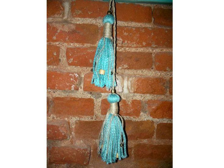 Borlas agarra cortinas con cuentas de madera textiles - Cortinas de cuentas ...