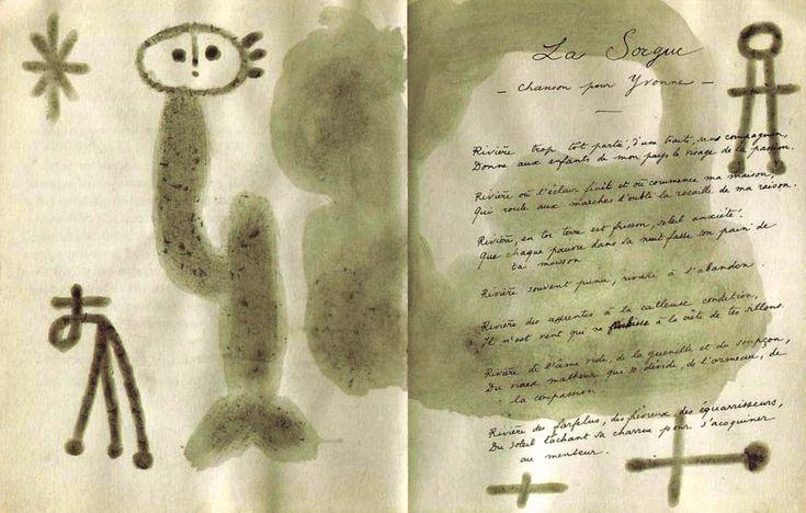 """lupitovi: """" Juan Miró - illustration de « Poèmes » de René Char (1948). Encre de Chine, gouache, aquarelle, crayons de couleur, pastel gras et cire à cacheter. Dédicace de l'auteur et du peintre à..."""