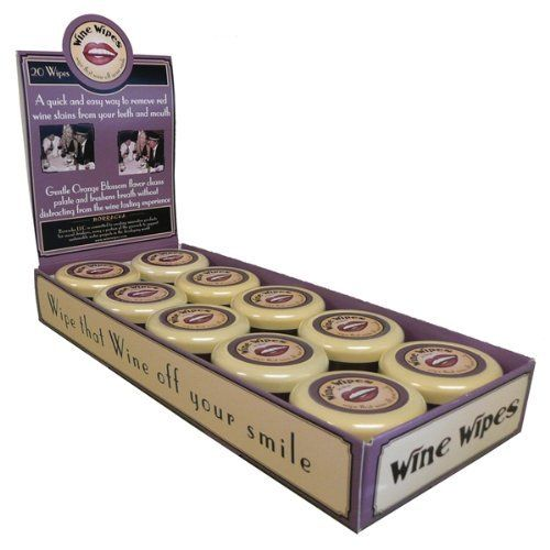 Wine Wipes - Perfect for the Wine Lover!, 20 Wipes in 1 Convenient (Display of 20 Compact) by Harold Import. $129.99. Wine Wipes, Mirror Compact with 20 Wipes. Orange blossom flavor cleans palate without interfering with wine tasting experience.. Quick and easy way to remove red wine stains from teeth and mouth.. Display of 20 Compact. Wine Wipes proprietary blend of natural ingredients cleans red wine off teeth and neutralizes the palate.. How many times have...