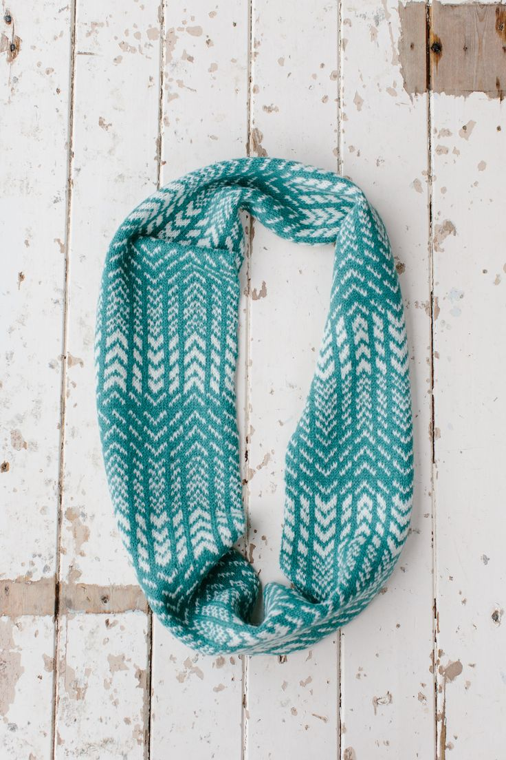 Wave Circle Scarf from my new book, Knitting from the North. This is knitted with Jamieson's of Shetland Spindrift Yarn in Verdigris and Natural White.