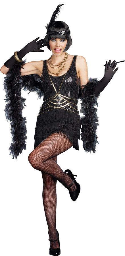 Shimmy your way into the limelight in this sequined 1920's inspired flapper dress. accented with art deco styling, the dress has a layered fringe bottom that flows around the back. The costume include