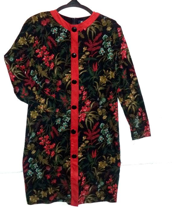 80s Floral Knit Dress Laric Italy New Wave short by MushkaVintage3