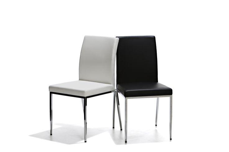 Daily - Stol med sits och rygg i konstläder och ben i kromat stål.