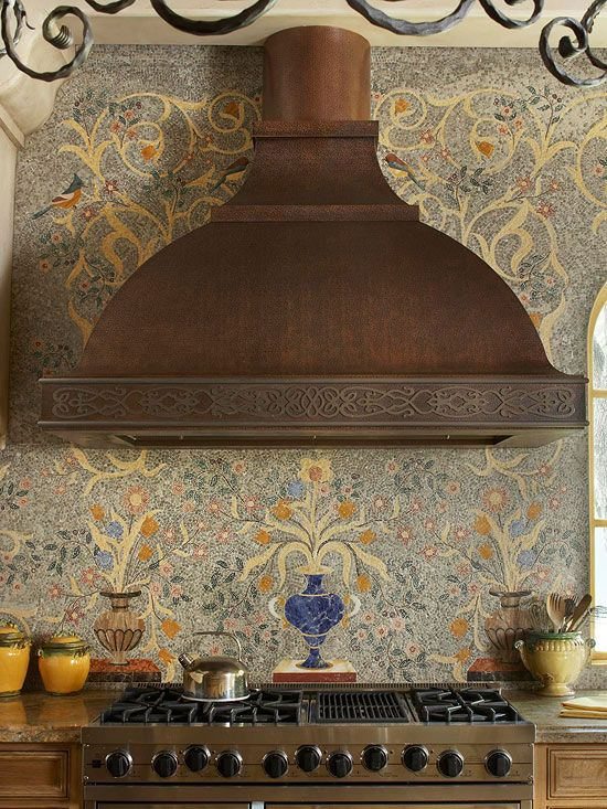 Mediterranean Mosaic. Use your backsplash choice to establish your kitchen's style. Here, a marble mosaic incorporates Mediterranean colors and patterns in a trompe l'oeil creation, complementing the Tuscan-style home's old-world look.