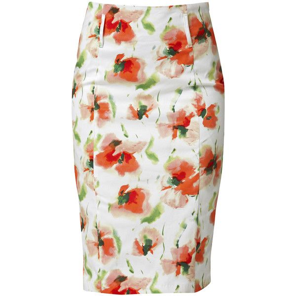 RAXEVSKY FLOWER BOOM Coral Pencil Skirt and other apparel, accessories and trends. Browse and shop 12 related looks.