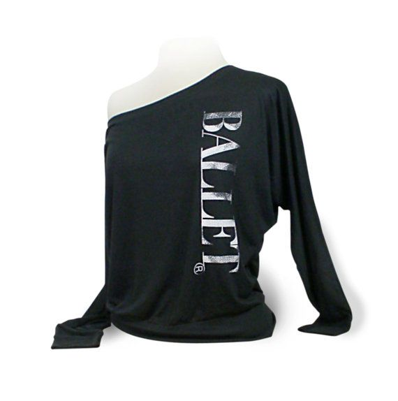 "Ballet Dolman Long Sleeve Dance Top ""Ballet"" - Black.  Ballet top for coverup over leotard. Dancewear for ballet dancers. by designer4dance"