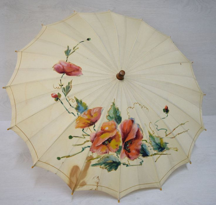 Vintage Retro Gorgeous Small Umbrella Parasol Accessory Hand Painted Ornaments