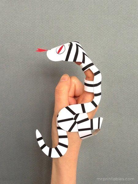 snake finger puppets printable