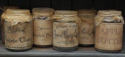 tutorial on how to make old jar labels; http://the-primitive-pantry-blog.blogspot.com/p/craft-tutorials.html
