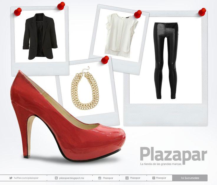 ZAPATOS ROJOS - #Look de puro #rockandroll #blazer negro, pantalones ajustados de vinilo negros y #tacones de #charol rojos... ¡Y que empiece la #fiesta! Temporada #OtoñoInvierno #moda #ootd #fashion #instafashion #zapatos #shoes #heels #gold