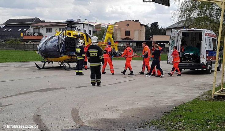 Poparzone dziecko poleciało do szpitala śmigłowcem #Brzeszcze #wypadek #poparzenie #dziecko #LPR #śmigłowiec