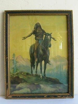 """$45 Antique Appeal To The Great Spirit Cyrus Dallin American Indian Lithograph Print 