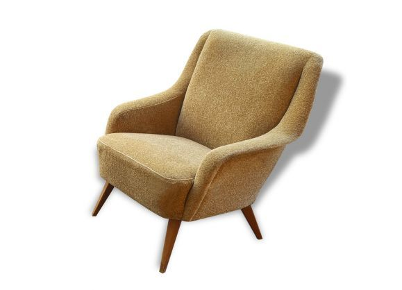 Fauteuil Club Danois Accoudoir Vague Annees 50 60 Jaune Beige In