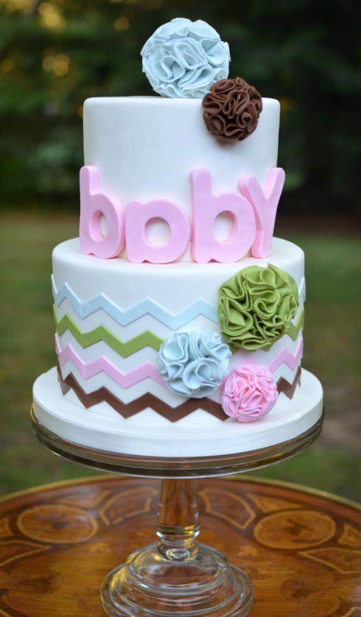 Pom Pom and Chevron Baby Shower Cake by Elisabeth Palatiello